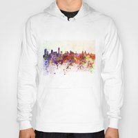 liverpool Hoodies featuring Liverpool skyline in watercolor background by Paulrommer