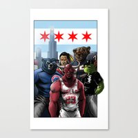 blackhawks Canvas Prints featuring Chicago Sports by Carrillo Art Studio