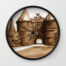 Royal German Castle in Burnt Umber Wall Clock