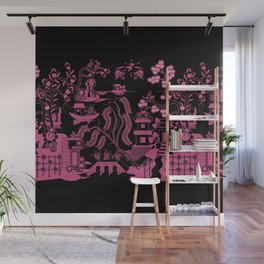 Gooo Willow in Black and pink Wall Mural