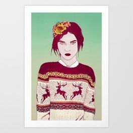 Sweater Weather Lady Art Print