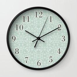 Vintage Look Mint White Pattern Wall Clock