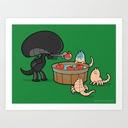 Apple Bobbing Champion Art Print
