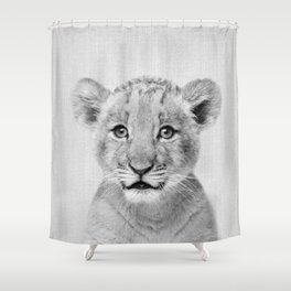 Baby Lion - Black & White Shower Curtain