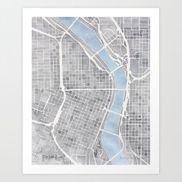 Portland Oregon watercolor city map art Art Print
