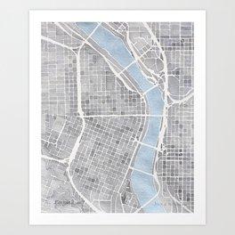 Portland Oregon watercolor city map art Art Print