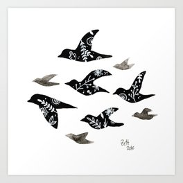 Patterned Birds Art Print