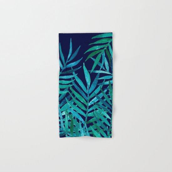 Watercolor Palm Leaves on Navy Hand & Bath Towel