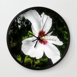 The White Hibiscus Flower Wall Clock