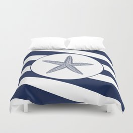 Nautical Starfish Navy Blue & White Stripes Beach Duvet Cover