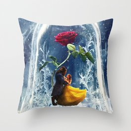 Beauty and the Beast-Rose Throw Pillow