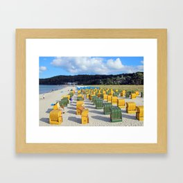 Beach chairs, yellow green Framed Art Print