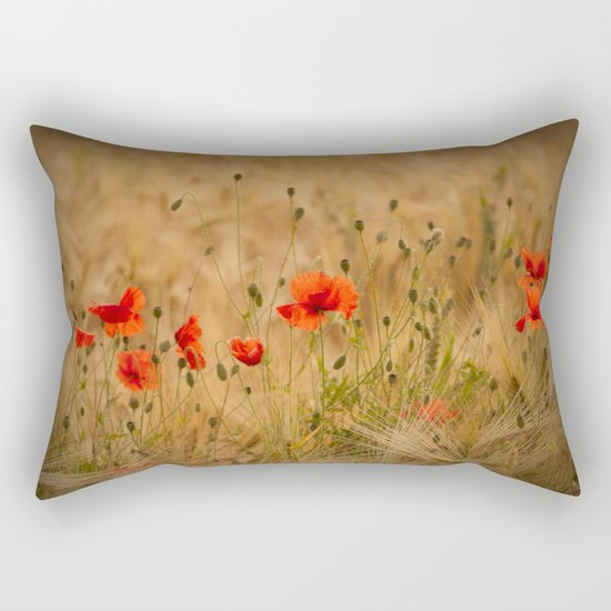 Golden cornfield with poppies Rectangular Pillow
