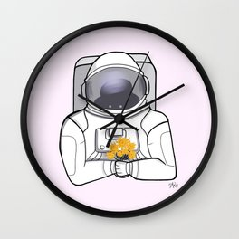 Astronaut and SunFlowers Wall Clock