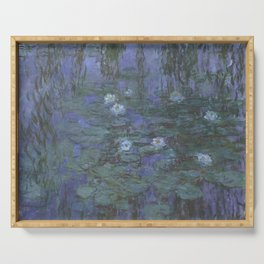 Blue Water Lilies Serving Tray