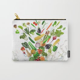 Healthy Food with water splash on white background Carry-All Pouch