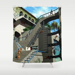 Optical Illusion - Tribute to Escher Shower Curtain