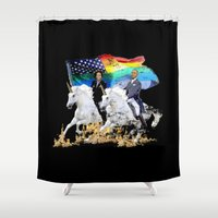 obama Shower Curtains featuring Preposterous Presidents - Barack and Michelle Obama - Unicorn Pride by El Presidente