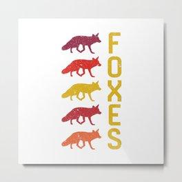 Foxes Vintage Metal Print