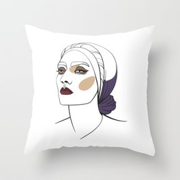 Woman in headscarf with smoky eyes. Abstract face. Fashion illustration Throw Pillow