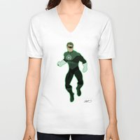 green lantern V-neck T-shirts featuring Green Lantern by The Vector Studio