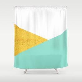 Gold & Aqua Blue Geometry Shower Curtain