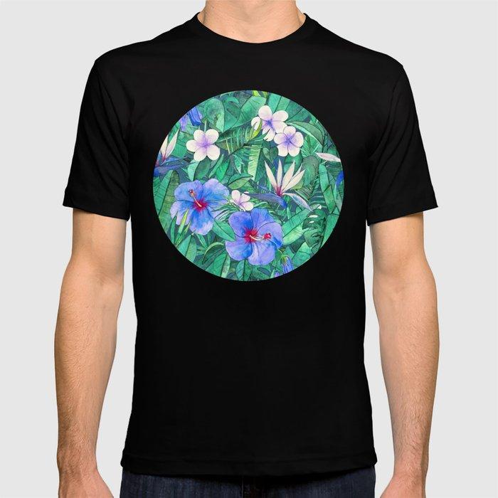 White Bird of Paradise & Blue Hibiscus Tropical Garden T-shirt