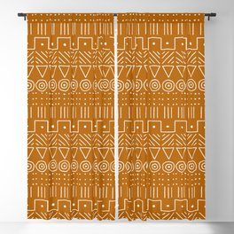 Mudcloth Style 1 in Orange Blackout Curtain