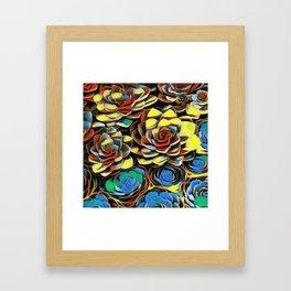 Hens and Chicks Oils Framed Art Print