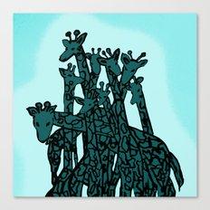 Zen Tangled Aqua Giraffe Canvas Print