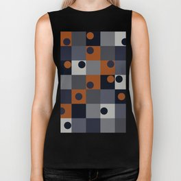 Navy & Rust Squares and Circles Biker Tank