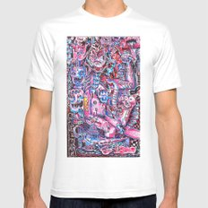 Blue & pink portrait.  White MEDIUM Mens Fitted Tee