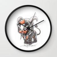 projectrocket Wall Clocks featuring Facing certain Doom by Randy C
