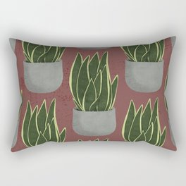 Potted Snake Plant with Red Background Rectangular Pillow