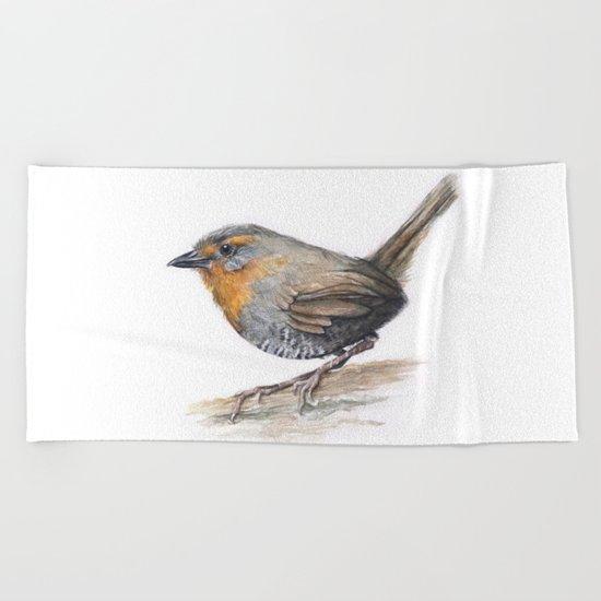 Chucao Bird Watercolor Animal Portrait Beach Towel