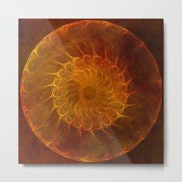 Vintage Orange Fractal Mandala Metal Print