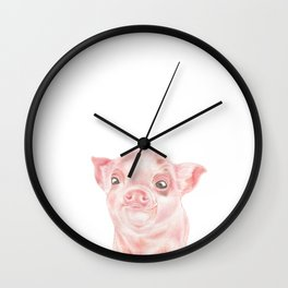 Pig | Animals | Watercolour | Art | Painting | Nature | Farm Piglet | Peek-a-boo Wall Clock