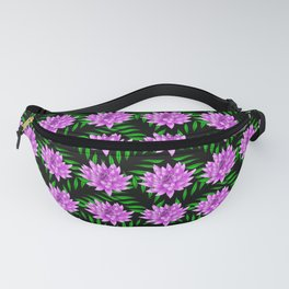 Pink pretty blooming lily flowers and green leaves black floral pattern design Fanny Pack