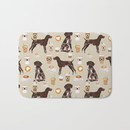 German Shorthair Pointer dog breed custom pet portrait coffee lover pet friendly gifts Bath Mat