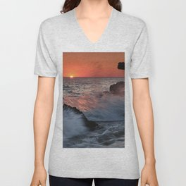 Red Sun Through The Waves. Roche Reefs At Sunset. Unisex V-Neck