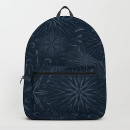 Stars and Flowers in Dark Blue Backpack