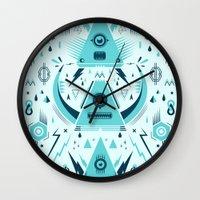 transformer Wall Clocks featuring Triangle Alien Transformer Attack  by badbugs_art