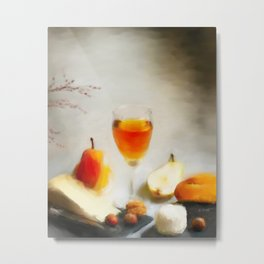 Wine, Nuts, Pear, Bread, and Cheese Metal Print
