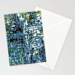 Blue Green Abstract Geometric Low Poly Modern Art Stationery Cards