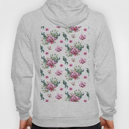 Modern fuchsia green watercolor country floral Hoody