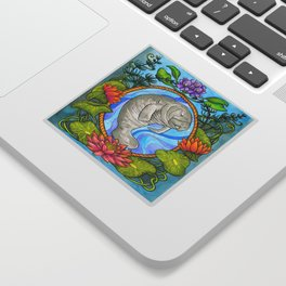 Manatee and Water Lilies Sticker