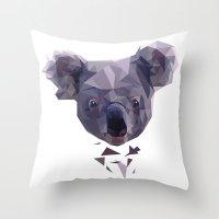 koala Throw Pillows featuring KOALA by MGNFQ