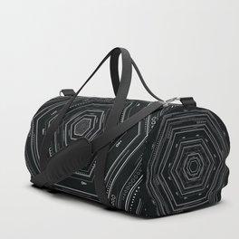 Detailed tribal geometry design, black and white geometric Duffle Bag