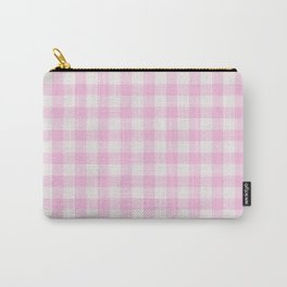 Blush pink white gingham 80s classic picnic pattern Carry-All Pouch
