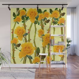 GOLDEN ROSES & THORNY CANES ON  YELLOW Wall Mural